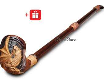 LONG STEM Pipe Khaleesi DRAGON Smoking Pipe Wooden Tobacco pipe Hand carved Smoking Bowl Best Wedding Groomsmen gift ideas Custom Engraving