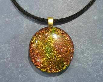 Fused Glass Pendant, Orange Gold Necklace, Ready to Ship, Fused Glass Jewelry, Autumn Halloween Jewelry - Salem - -5