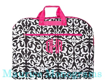 Personalized Damask Garment Bag with Hot Pink Trim Hanging Bag-Canvas Like Material-Monogrammed FREE-Dance Recitals