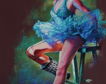 """Pastel Drawing of Ballerina in Blue - Large Fine Art Reproduction - """"Tutu and Boots"""""""