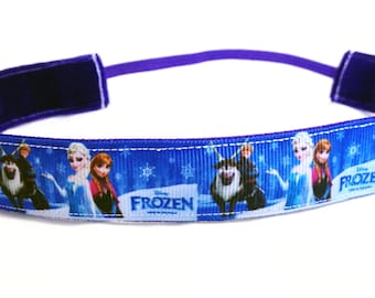 NOODLE HUGGER Non slip ribbon headband - Frozen theme - 7/8 inch (running, working out, everyday: women and girls)