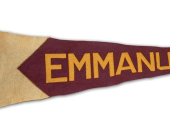 1920s Sewn Letters Felt Pennant Emmanuel College Divinity School University of Toronto -- Free Shipping!