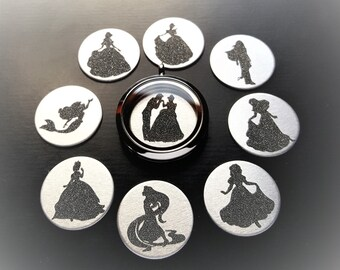 Princess Window Plate for 30mm (Large) Floating Lockets-Princess Silhouette-Choose from 20 Colors-from Gift Idea