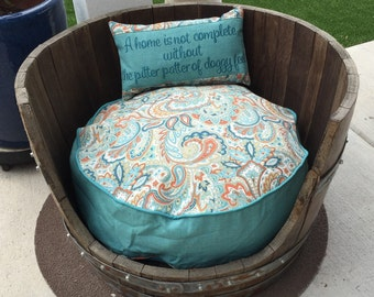 Dog Bed - Round Bed  for Dogs - Custom Pillows - Indoor Outdoor fabric  - Includes Embroidered Personalization