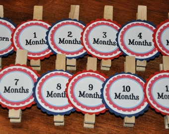 Red and Navy Photo Clips. Photo Banner. Red. Navy. Set of 13. Newborn-12 Months. First Birthday. Nautical