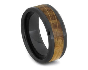 Oak Wood Wedding Band, Black Ceramic Ring For Men Inlaid With Whiskey Barrel Wood, Manly Ring