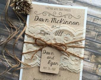 Rustic Wedding Invitation, Vintage Wedding Invitation, Elegant Wedding Invitations, Lace Wedding Invitations, Barn Wedding Invitations