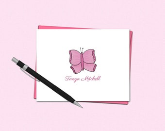 Personalized Butterfly Note Cards - Butterfly Note Cards - Personalized Folded Note Cards - Stationery for Her - Butterfly Stationery