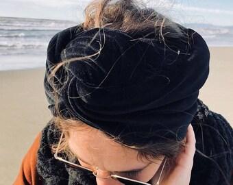 Hair Turban band modelable in Black Velvet