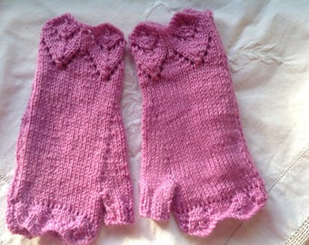 Fingerless lacy cuffed mittens , texting gloves, driving gloves ,rose pink  color thick,soft , acrylic and wool yarn