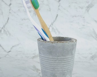 Toothbrush Jar - Hypertufa Cup / Concrete Cup - Toothbrush Cup - Razor Holder - Industrial Bathroom Decor- Minimalist Decor Toothbrush Caddy