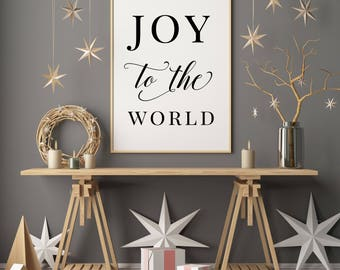 Joy to the World -  Holiday Printable, Christian Poster, Bible Scripture, Christmas Print