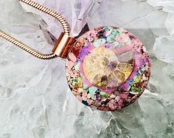 Orgonite® Orgone Pendant (Medium) - Ammonite/Rhodonite/Turquoise - FREE WORLDWIDE SHIPPING!  Ask a question
