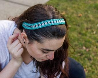 Headband for Girls , Turquoise Headband , Subtle Headband , Crocheted Headband , Vegan Friendly Gift , Upcycled Necklace , Upcycled Headband