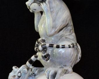 """Leave Me Alone. Ceramic Sculpture. Pop Surrealism. Kathleen McGiveron. 11""""h x 8""""w x 7.5""""d"""