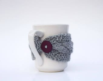 Gray cup cozy cable knit mug cosy grey gray chocolate brown button Christmas gift for friend hand knit reusable cup cozy