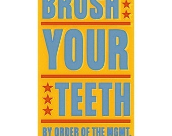 "Bathroom art for kids, Brush Your Teeth Print 6"" x 10"", Kids Bathroom Decor Kid seen"" Land of Nod. Kids Art Prints, Kid Bathroom Wall Art"