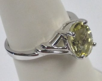 Natural Green Gold Quartz Solitaire Ring 925 Sterling Silver