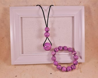 Bracelet necklace with purple fimo beads and handmade abalone made in Italy gift idea for her handmade polymer clay necklace
