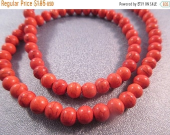 ON SALE 20% OFF Crayon Candy Orange Magnesite Beads Round 6mm 71pcs