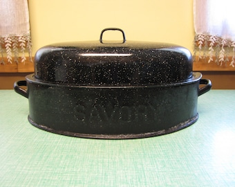 Savory Roaster Vintage Oven and Cookware Enamel Roasting Pan