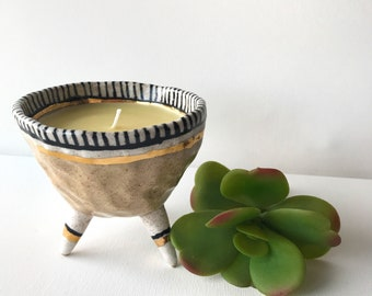 Lemon honey scented soy and beeswax candle, handmade ceramic pinch pot, tri-pod, modern decor, black white and tan, stripes, gold, candle