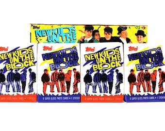 4 New Kids On The Block Stickers & Picture Card Packs 1989