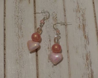Fancy Pink salmon with marbled glass bead earrings