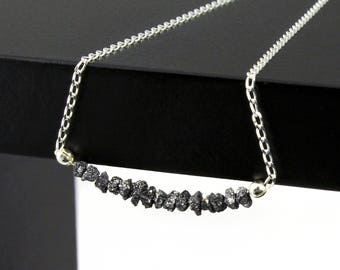 Black Rough Diamonds Necklace in Sterling Silver - Raw Uncut Diamonds - April Birthstone