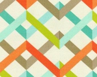 Two 20 x 20  Custom Designer Decorative Pillow Covers for Indoor/Outdoor - Zig Zag Orange Aqua Blue Tan