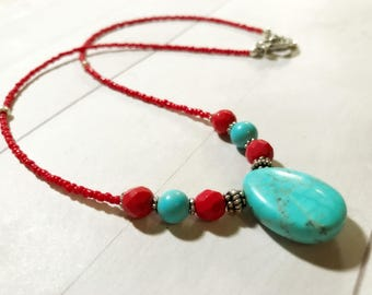Turquoise necklace December birthstone Southwestern jewelry teardrop pendant Mexican Western Southwestern Native beaded necklace