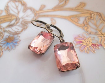 Faceted Pink Champagne Rectangle Rhinestone Drop Earrings, Vintage Glass Charms, Antique Bronze Setting, Bridal Jewelry, Nickel Free