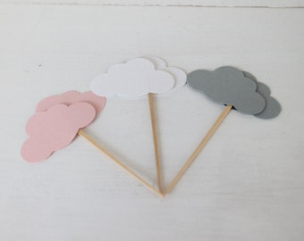 Pink, White, and Grey Cloud Cupcake Toppers- Baby Shower Decor, Cloud Baby Shower, Party Decor- Birthday Decor