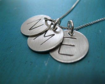Personalized Hand Stamped Sterling Silver Initial Tag Trio