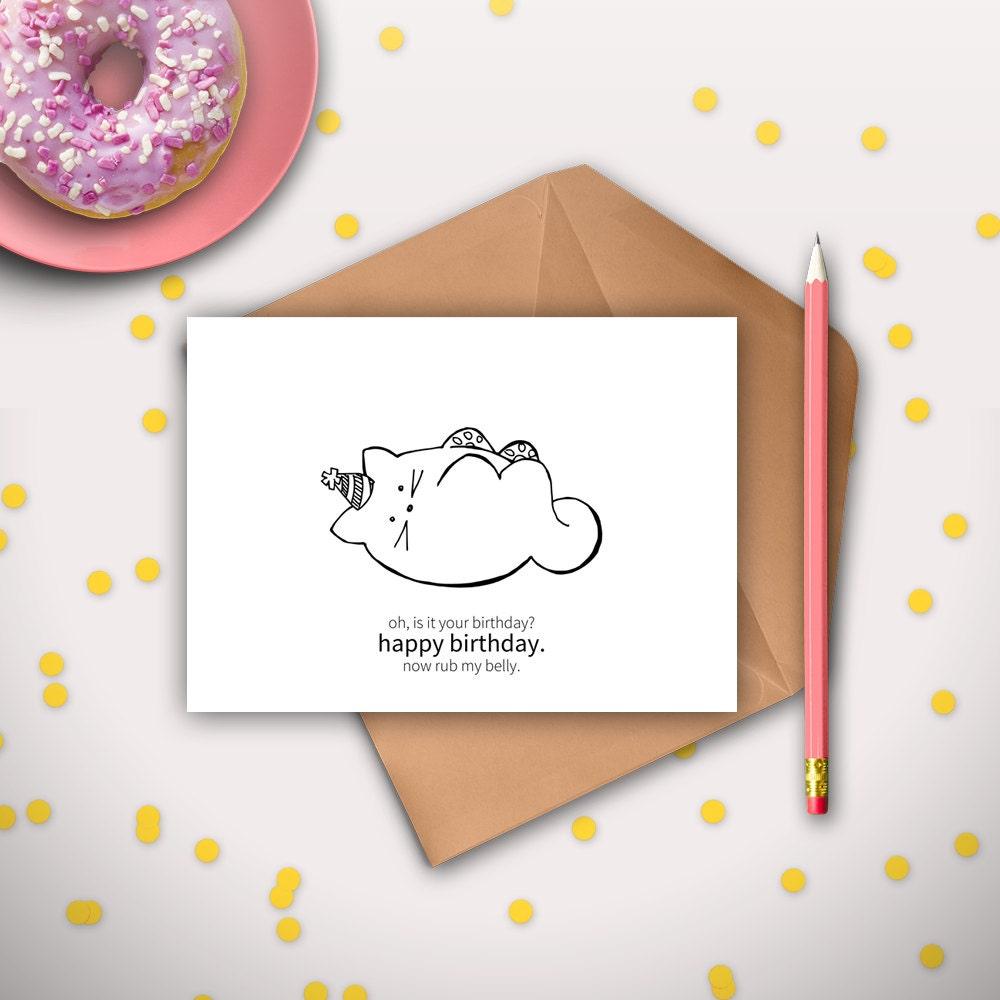 Funny cat birthday card printable instant download digital zoom bookmarktalkfo Gallery