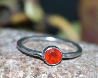 Natural Carnelian Ring- Sterling Silver Handmade Ring-Carnelian Ring-Round Cut Carnelian Ring-Birthday Gift to Her-Carnelian Ring#24