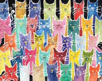 Cats. Cats. Cats. (Original Painting)