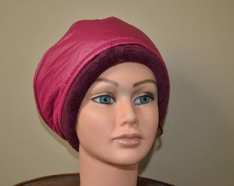 Quilted fuchsia double plush Burgundy beret