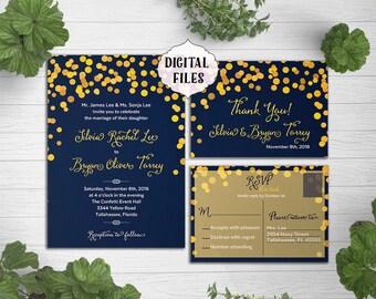 DIGITAL, Navy Yellow Wedding Invitation, confetti wedding invite, Printable file, Wedding Invitation, RSVP card, blue, yellow wedding invite