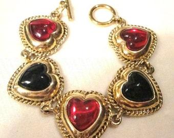 Vintage Black & Red Heart Bracelet