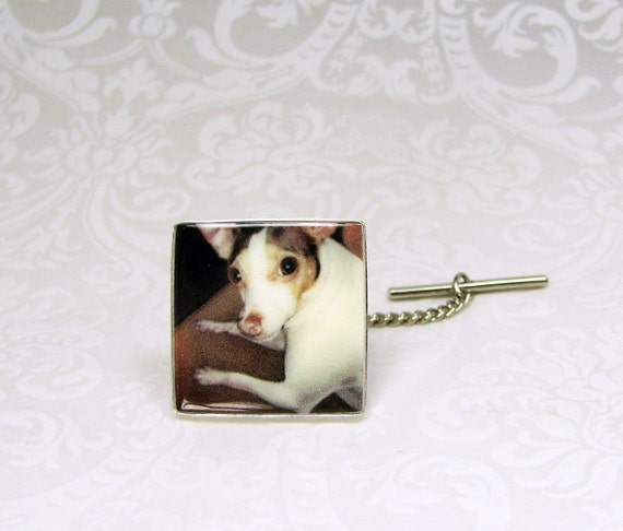 Tie Tack with chain, Personalized Sterling Silver Framed Photo Tile - PT3a