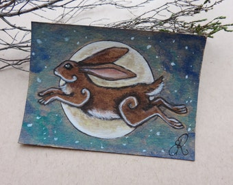 ORIGINAL miniature ACEO illustration Leaping Hare Moon ATC