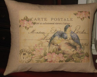 French Carte Postale Bird Pillow with French Script