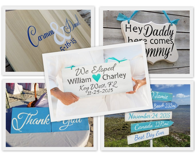 Wedding Signs Set of 5, Nautical Wedding Directional Beach Sign, Wedding Guest Book, Thank You Mr. and Mrs. Photo Props, Kids Sign