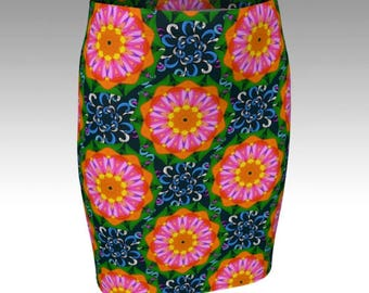 Retro Skirt, Tube skirt, Flower Power, 1960's style skirt, sixties fashion, Quirky skirts by Rooby lane