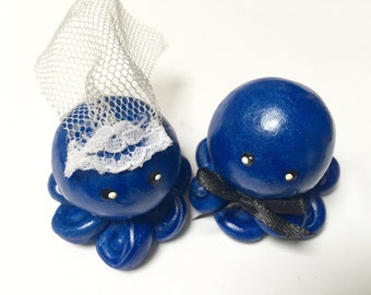 Octopus Wedding Couple Cake Topper Custom Color Set of Two  Bride and Groom Shown in Royal blue and Pearl Swirl