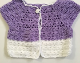Purple and White Baby Cardigan, size 9-12 months