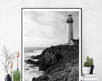 Lighthouse Art Print, Lighthouse Download, Coastal Beach Decor, Nautical Wall Art Print, Black and White, Printable Photo, Instant Download