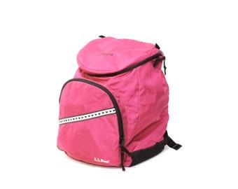 LL BEAN pink nylon 80s 90s BACKPACK knapsack