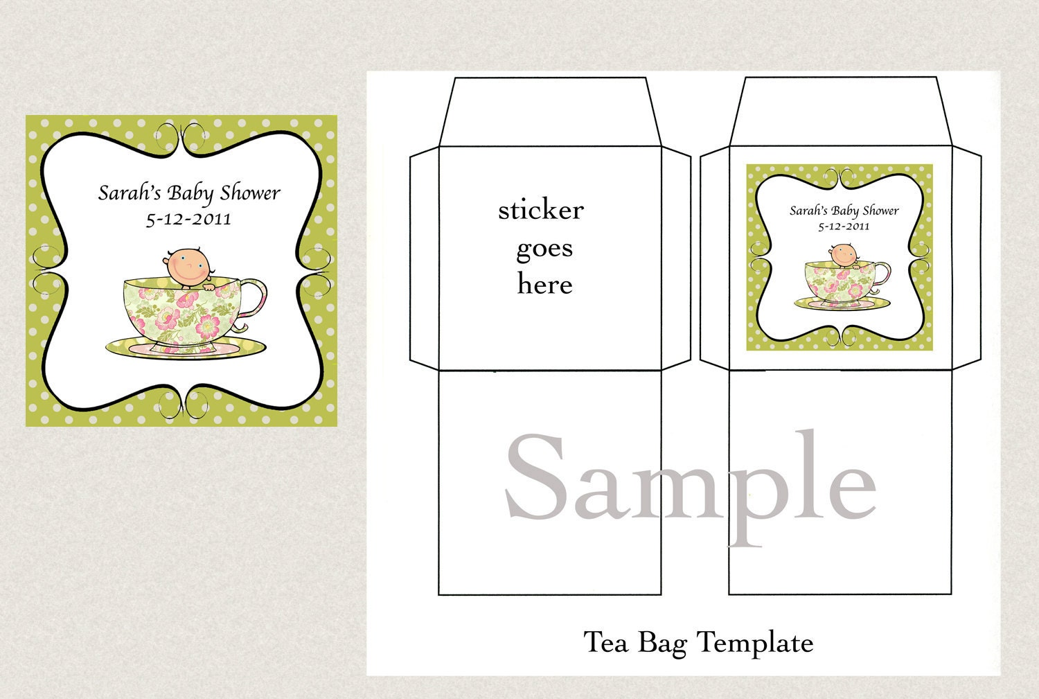 DIY Printable Tea Bag Cover Template A Baby\'s Brewing or